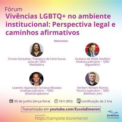 Emeron promove fórum online sobre a perspectiva legal e caminhos afirmativos para as vivências LGBT+ no ambiente institucional
