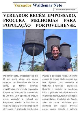 Vereador Waldemar Neto presta conta à comunidade através de jornal informativo virtual