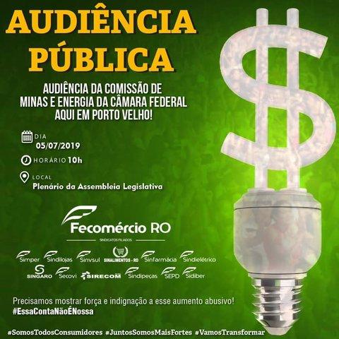 Fecomércio/RO convida para participação em Audiência Pública sobre energia - Gente de Opinião