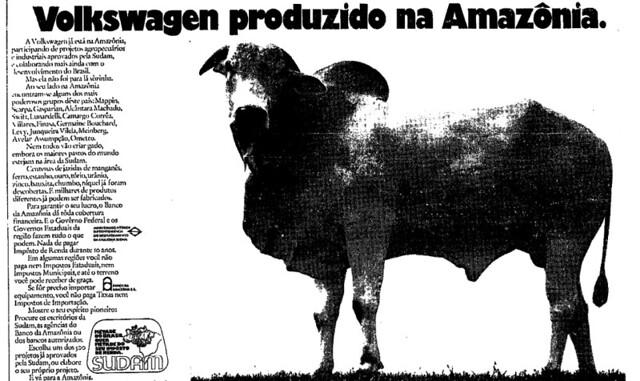 """Anúncios pagos pelo governo federal exibiam um robusto touro com a seguinte mensagem: """"Volkswagen produzido na Amazônia"""" / Reprodução   - Gente de Opinião"""
