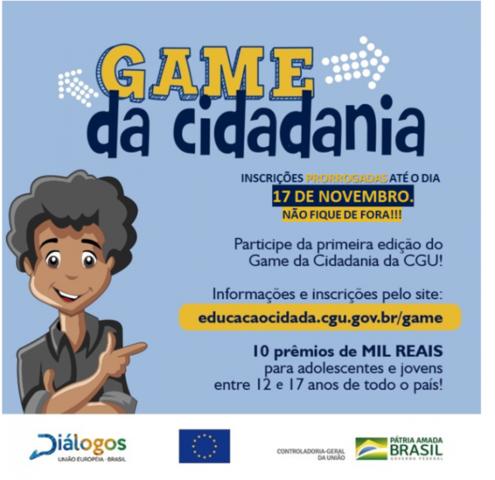 """1° Edição  do Concurso """"Game da Cidadania"""" - Inscrições prorrogadas até o dia 17 de novembro - Gente de Opinião"""