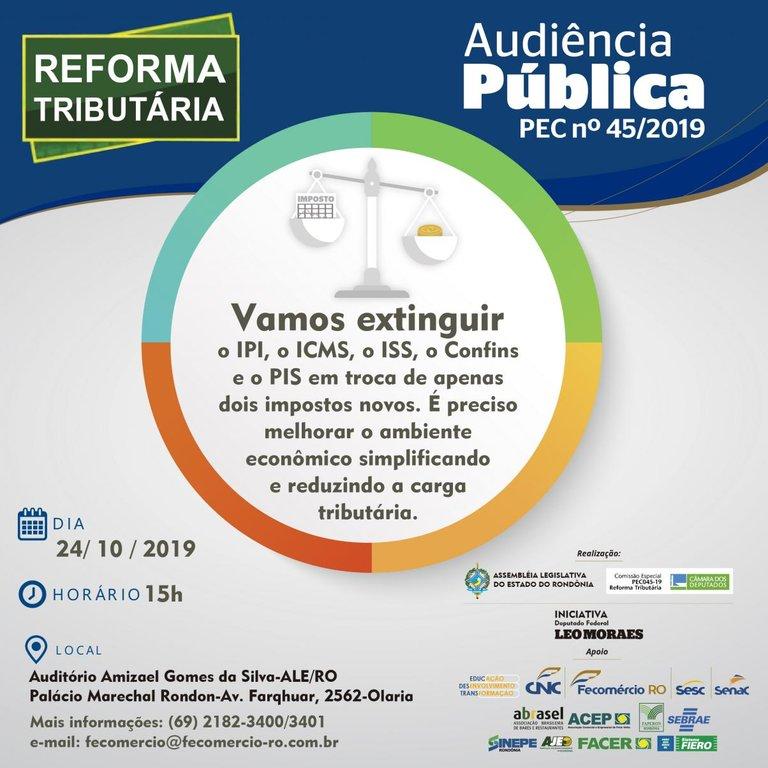 Audiência Pública que discutirá reforma tributária acontece nesta quinta-feira na ALE/RO - Gente de Opinião