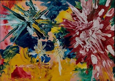 Explosão Colorida, guache sobre cartão