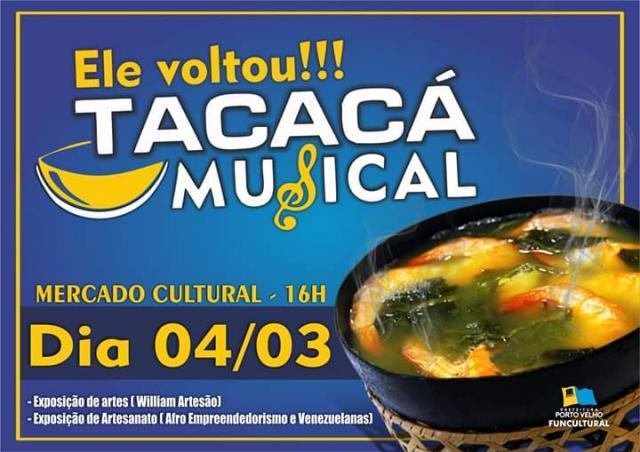 """Tacacá Musical, Samba Raiz, Forró Pé de Serra e shows das bandas """"Distopia"""" e """"Os Últimos"""", são algumas das atrações do Mercado Cultural. - Gente de Opinião"""