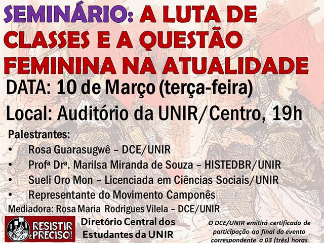 DCE/UNIR promove seminário temático sobre a questão feminina - Gente de Opinião