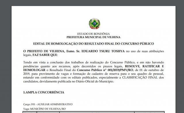 Veja o resultado final do concurso público da Prefeitura de Vilhena: homologação foi publicada - Gente de Opinião