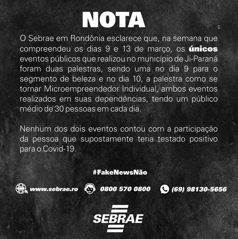 Nota do Sebrae sobre palestra em realizadas em Ji-Paraná - Gente de Opinião