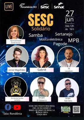 Live Show – Sesc solidário trazendo o melhor da música eletrônica, samba, pagode, mpb e sertanejo