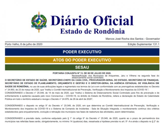 Coronavírus: Ariquemes, Jaru e Vilhena passam para segunda fase do distanciamento social em Rondônia - Gente de Opinião