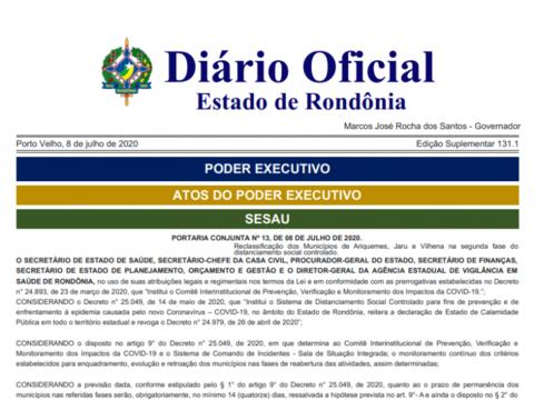 Coronavírus: Ariquemes, Jaru e Vilhena passam para segunda fase do distanciamento social em Rondônia