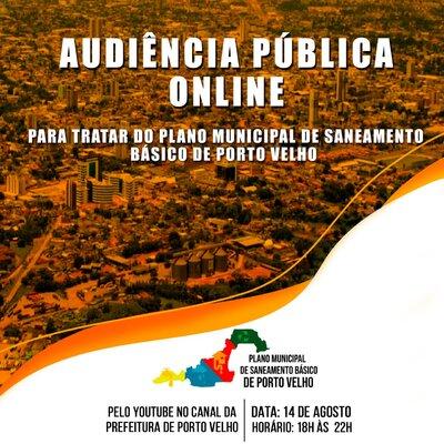 Plano Municipal de Saneamento Básico de Porto Velho será debatido na próxima sexta-feira